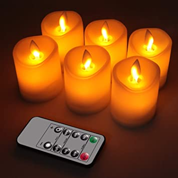 OMGAI 6pcs LED Swing Wick Velas con Temporizador de Control Remoto, sin llama, con Pilas, Vela Eléctrica con Función Parpadeante para Decoración del ...