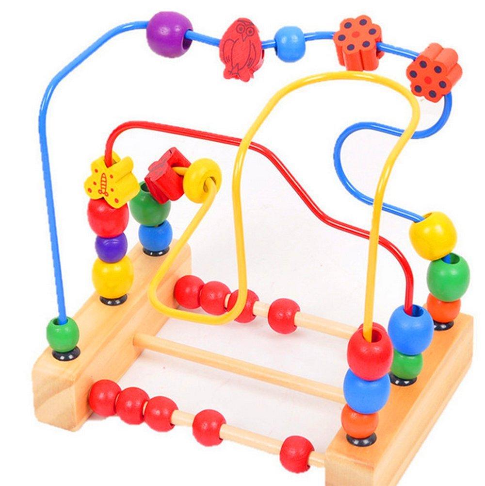 Scrox Classique Cercle Perle Labyrinthe Centre d'activités pour les tout-petits Jouets éducatifs en bois de développement pour les enfants, forme et trieuse de couleurs, montagnes russes