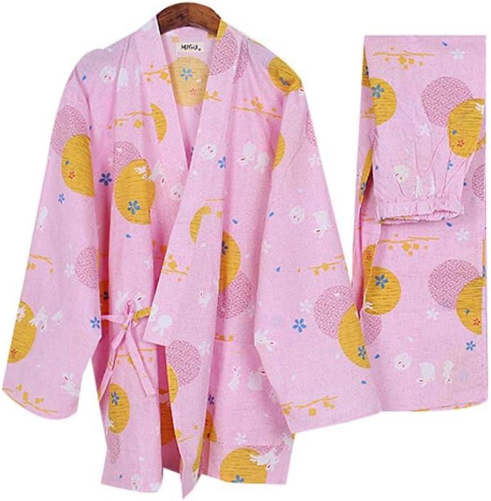 Panda Legends Pijamas Kimono Conejo Lindo para Mujer Albornoz de algodón Fino Yukata, Rosa: Amazon.es: Hogar