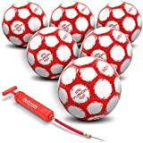 GoSports Fusion Soccer Ball with Premium Pump & Mesh Carrying Bag (6 Pack), Size 5, Red
