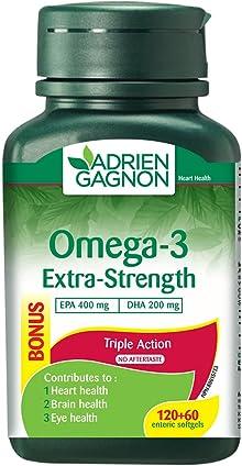 Adrien Gagnon - Omega 3 Extra-Strength (400 mg EPA + 200 mg DHA), 1000 mg, 180 (120+60 Bonus) Softgels
