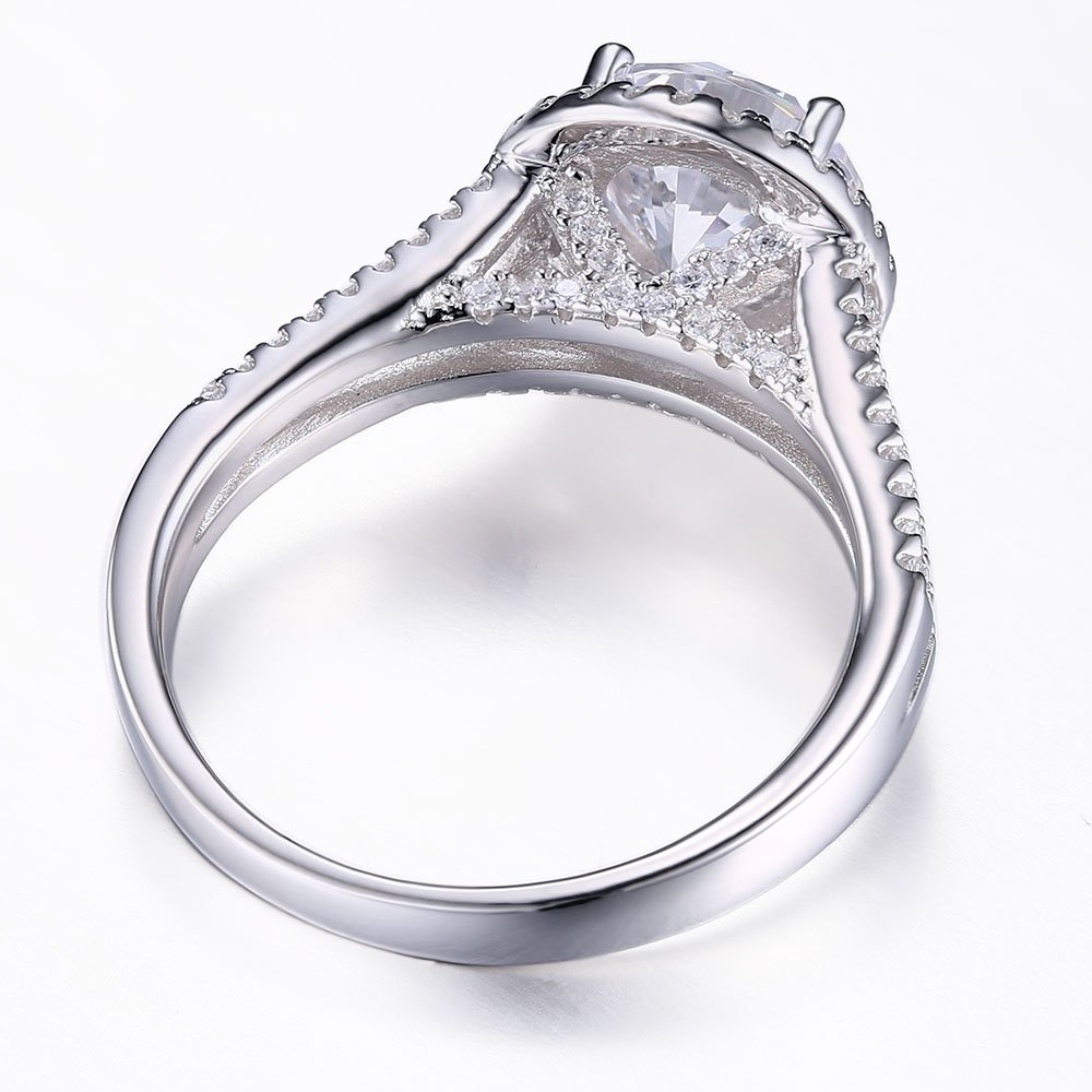 Mozume 3ct Round Cut Cubic Zirconia 925 Sterling Silver Engagement Wedding Halo Ring Fine Jewelry For Women Best Gift (7) by Mozume (Image #5)