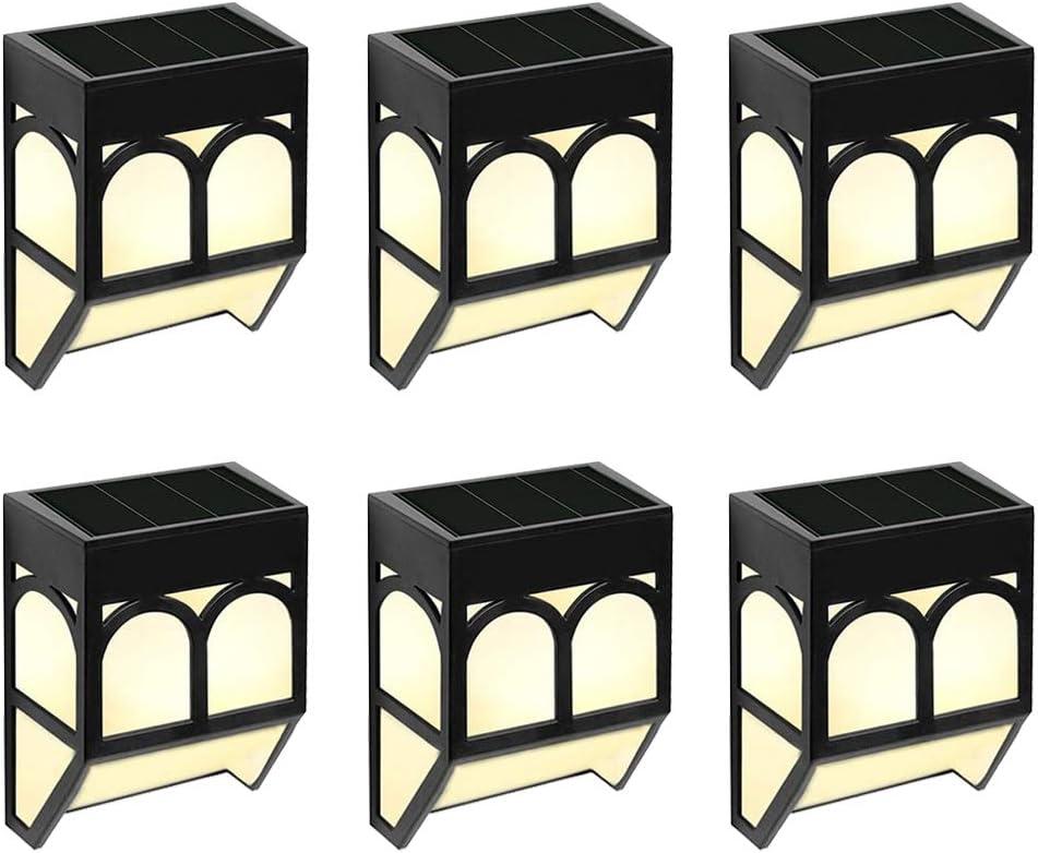 Luz Solar Exterior Jardín Pared - LED Lámpara Luz Solar Impermeables para Valla Porche Garaje del Jardín Camino Decoración Navideña [2 Modos ] Luz Blanca/Cambio de Color (Paquete de 6)