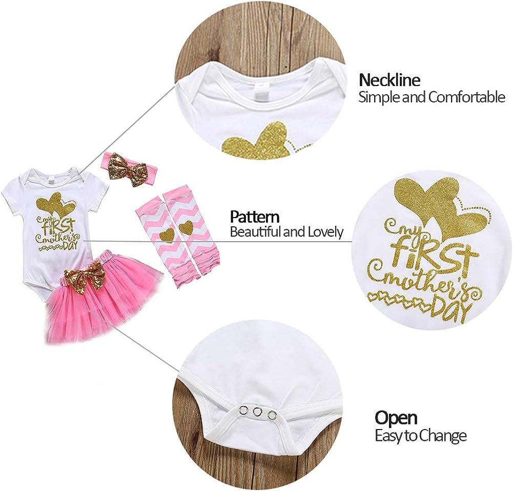 Xifamniy My First Mothers Day Baby Outfit Girl Newborn 4Pcs Romper Tutu Dress Bodysuit Headband Legging Socks Skirt Set