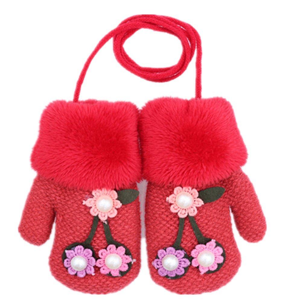 YL Story Baby Mä dchen Blumen Stricken Handschuhe Mit Schnur Winter Warm Plü sch Kind Handschuhe Fü r 1-3 Jahre Alt Gefü ttert Blau