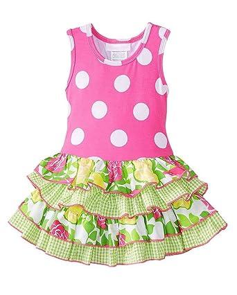 01583342bd Bonnie Jean Girls 4-6x Hot Pink Lime Big Dot Mixed Ruffles Racer-back