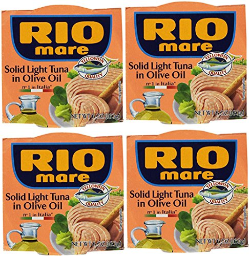 (Rio Mare Solid Light Tuna in Olive Oil (Pack of 4, 6-oz cans))
