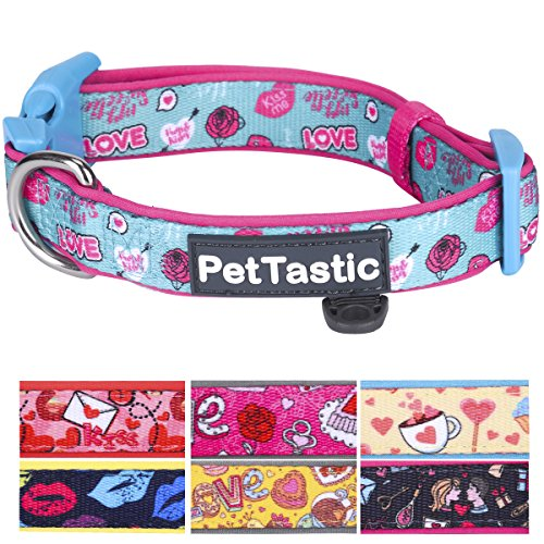 (PetTastic Best Adjustable Large Dog Collar Durable Soft & Heavy Duty with Cute Valentine's Day Design, Outdoor & Indoor use Comfort Dog Collar for girls, boys, puppy, adults, including ID Tag Ring)