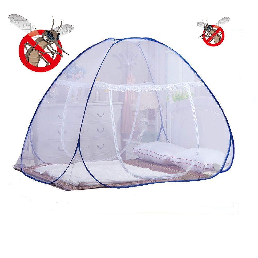 DmsBanga 2017 Summer Camping New Most Popular Mosquito Net for Bed Pop Up Nursery Guard Tent Folding Bottom Moustiquaire Canopy Zipper Baby Toddlers Kids Adult Travel Outdoor (200x180x150 Cm) by DmsBanga
