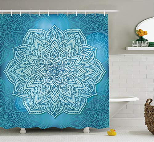 Ambesonne Mandala Shower Curtain, Oriental Style Lotus Flower Spiritual Zen Design in Blue Shades, Cloth Fabric Bathroom Decor Set with Hooks, 84 Inches Extra Long, Blue Pale Blue and Turquoise