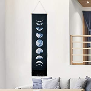 Sunm boutique Tapestry Wall Hanging Tapestries Nine Phases of The Full Growth Cycle of The Moon Wall Tapestry Cotton Linen Wall Art, Modern Home Decor
