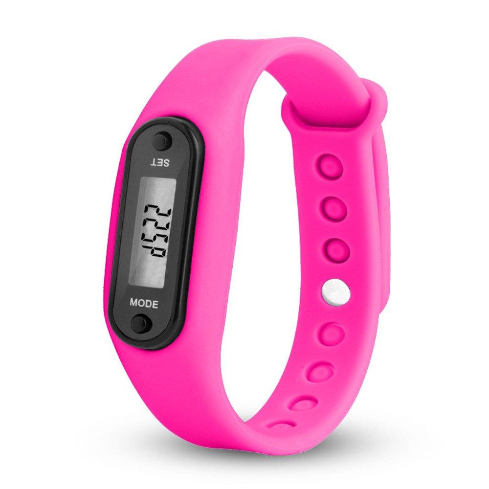 Feitengtd Run Step Watch Bracelet Pedometer Calorie Counter Digital LCD Walking Distance (Hot Pink)