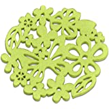 Flower Colouful Cup Mat- Set of 6 - Hollow Out - Non-woven Material- House Warming Gift, Coaster for Drinks Absorbent (Green)