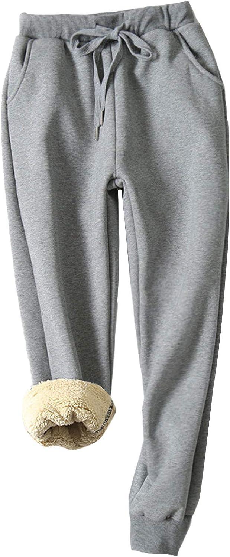 Flygo Women's Warm Fleece Joggers Pants Sherpa Lined Running Active Sweatpants