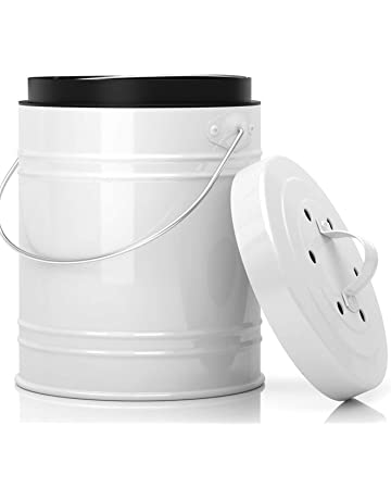 Cubo para Compost de 5 Litros con Revestimiento de Plástico y Filtros de Carbón en Blanco