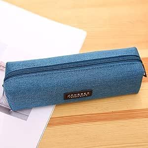Bolsa de Almacenamiento de papelería Simple,Estuche Simple de Color Liso, Bolsa de papelería con Cremallera de Lona Cuadrada, Azul Claro,para Adultos, niños, niñas: Amazon.es: Hogar