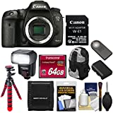Canon EOS 7D Mark II Digital SLR Camera Body & Wi-Fi Adapter Kit with 64GB Card + Battery + Backpack + Flash + Tripod + Kit