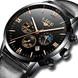 LIGE Mens Watches Top Brand Luxury Leather Business Quartz Watch Men Sport Waterproof Gold Black Wristwatch