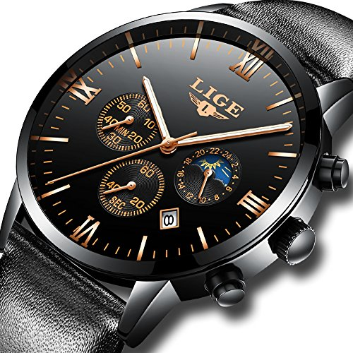 LIGE Mens Watches Top Brand Luxury Leather Business Quartz Watch Men Sport Waterproof Gold Black Wristwatch