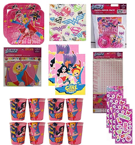 Justice League Girl Birthday Party Supply Bundle includes Plates, Favor Cups, Napkins, Table Cover, Banner, Invitation, Thank You Notes, Favor Pack, Stickers]()