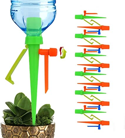Sporgo Plant Watering Devices,12 PCS Automatic Watering Spikes System Plant Watering System Adjustable With Control Valve Switch,Self Irrigation Watering Drip For Outdoor Indoor Plant