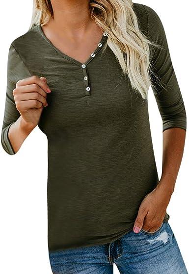 Damen Solide Langarm Rundhals T-Shirt Bluse Rundhals Shirts Oberteil Tunika 42