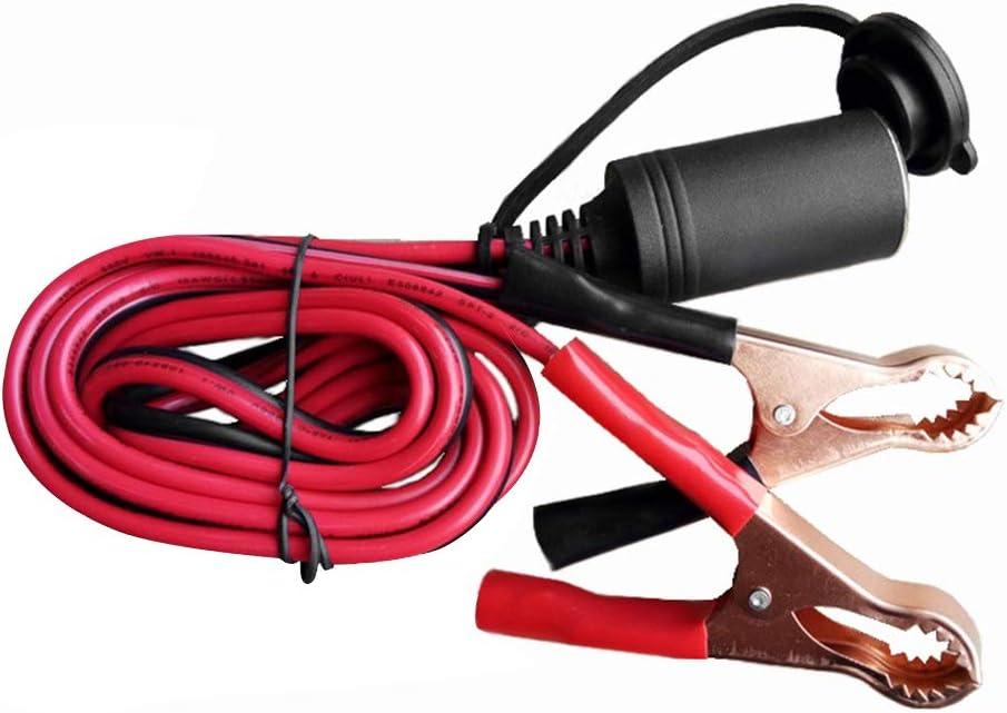 Lasamot Allume-Cigare Batterie Clip-on Voiture Prise Allume-Cigare 50A 18AWG Adaptateur Batterie de Voiture Pompe Alligator rallonge avec Pince de Batterie