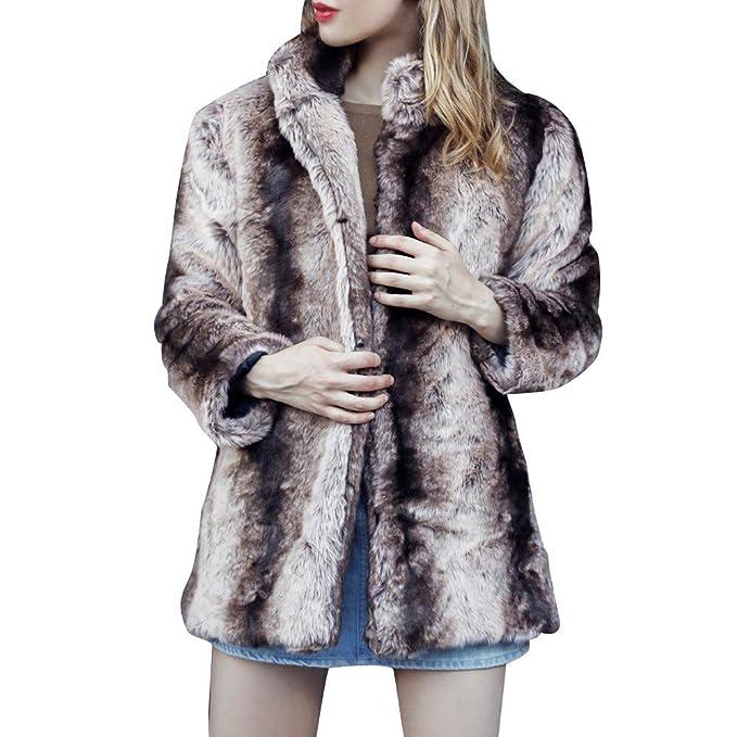 Kangma Women Casual Solid Color Notch Collar Autumn Winter Faux Fur Coat Outwear at Amazon Womens Coats Shop