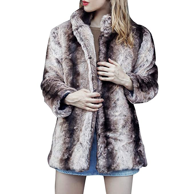 Faux Fur Jacket Clearance Sale,Sunyastor Womens Warm Leopard Print Hooded Parka Outerwear Winter Coat
