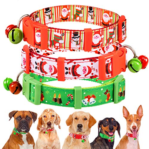 Whaline 3 Pack Christmas Dog Collar Cute Pet Collar Soft Adjustable Nylon Festive Holiday Breakaway Cat Collars with 2 Bells, Neck 30cm-47cm ()