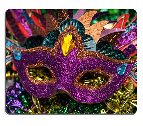 Luxlady Natural Rubber Gaming Mousepads Close up view of purple sequined Mardi Gras mask with colorful beads out focus in the background IMAGE ID (Carnavale Costumes)