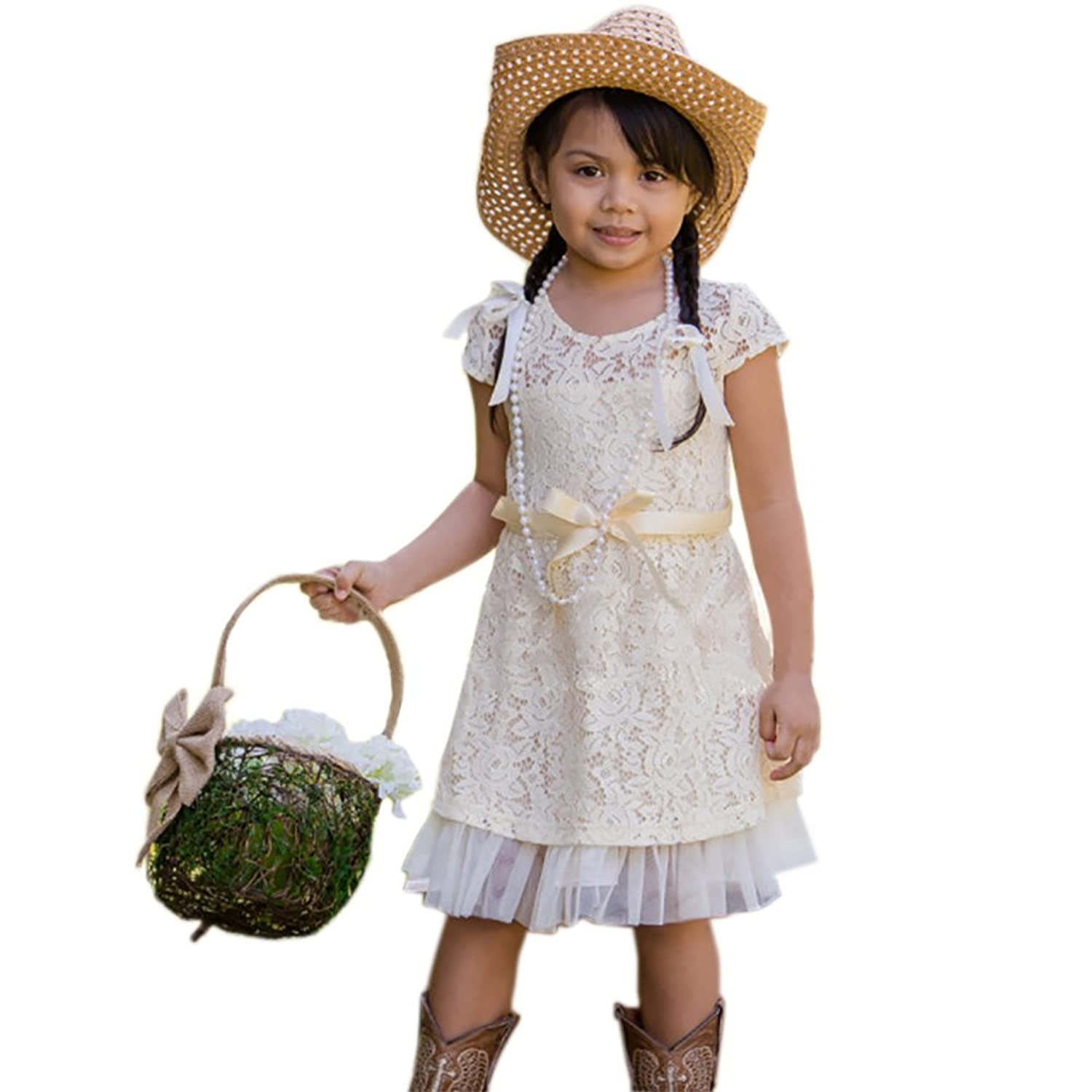 Cverre Cream Lace Baby Country Lace Rustic Flower Girl Dress