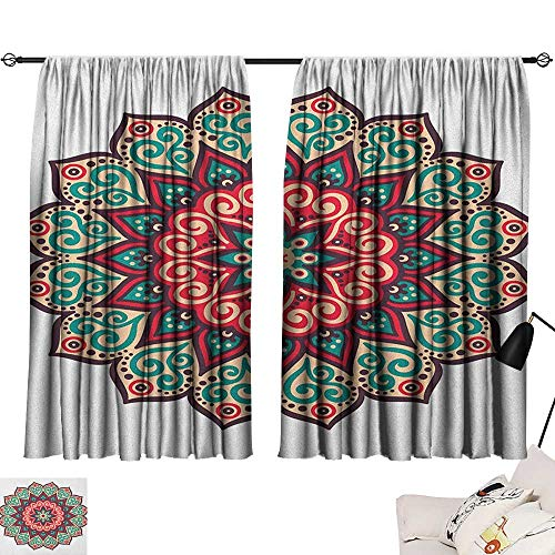 Beihai1Sun Asian Sunbeams Isolated Darkening Curtains Vintage Style Traditional Round Motif with Swirly Floral Details in Retro Colors Curtain Door Panel Multicolor W72 x L45