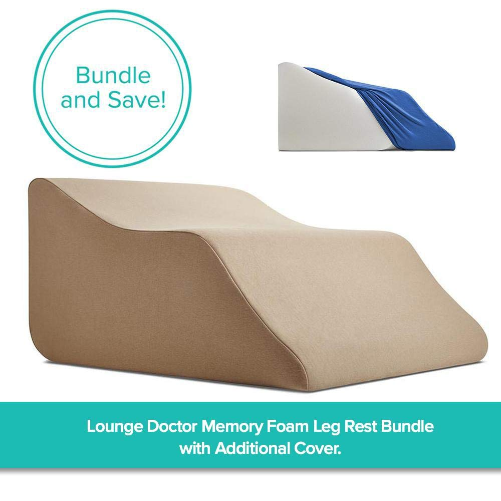 Lounge Doctor Memory Foam Leg Rest Bundle w Covers Medium Cappuccino Cappuccino - The Ultimate Leg Rest for venous Health, Comfort, and Relaxation