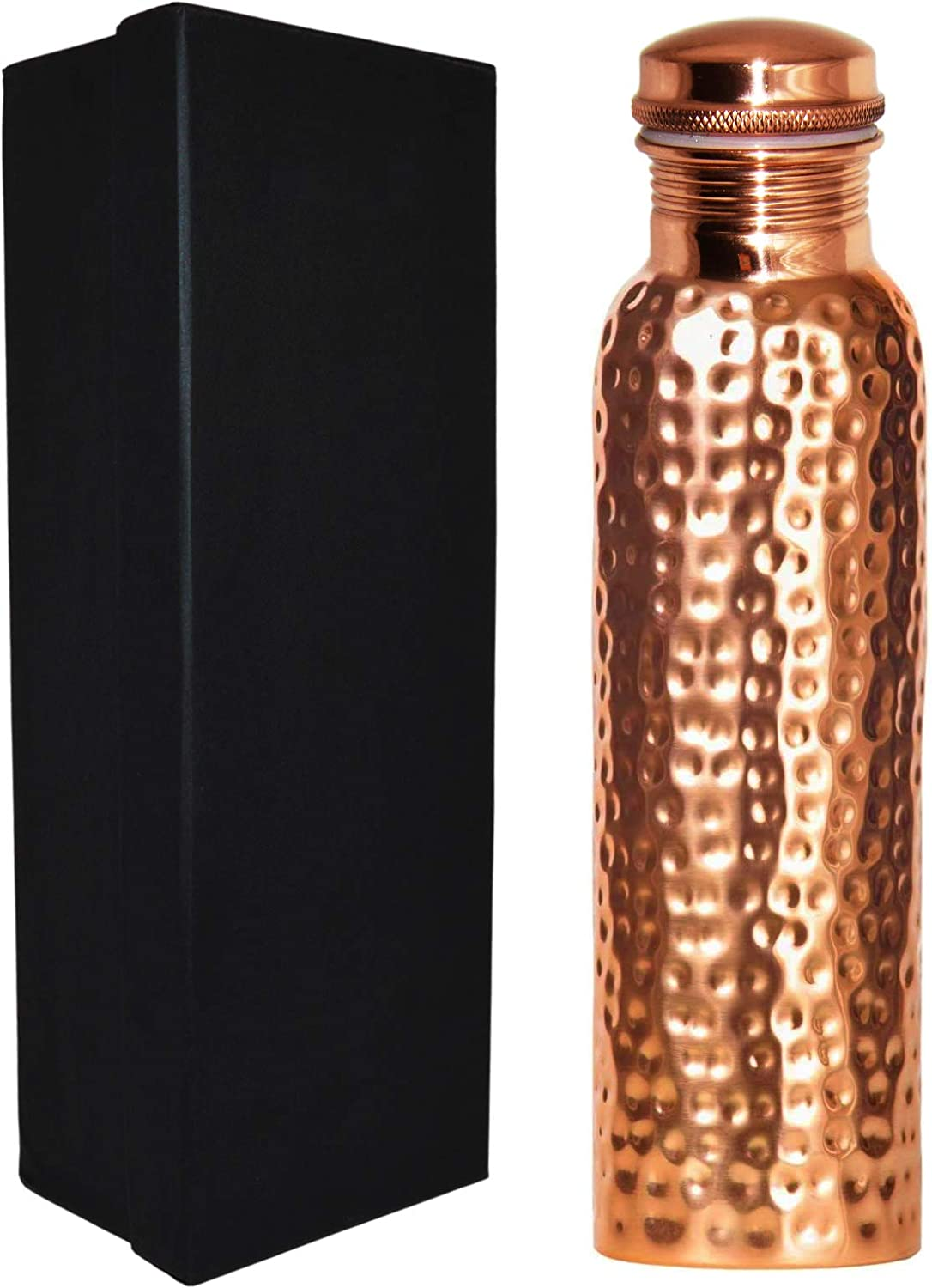 SciencePurchase 30 Ounce Pure Copper Drinking Vessel in Elegant Gift Box, Hammered Water Bottle with Screw-On Cap, Ayurvedic Benefits