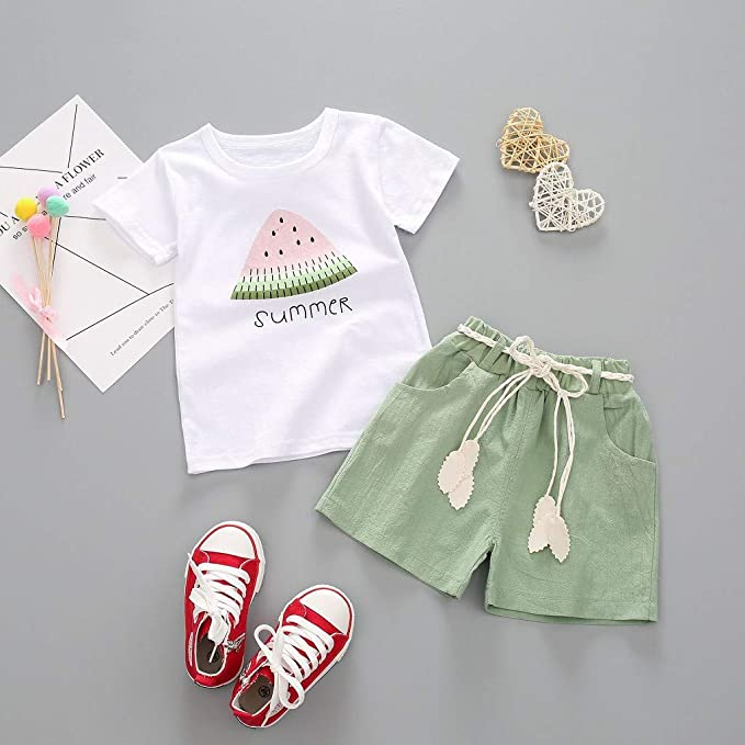 CM C/&M WODRO Baby Toddler Girls Summer Shorts Sets Kids Watermelon Letter Print Tops Shorts Outfits Clothes for 1-4 Years Old