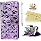 Mavis's Diary Sony Xperia XA Case, Xperia XA Flip Cover, Shiny Bling Butterfly Painted [3D Holographic] Cover Case Premium PU Leather Wallet Cover Deisgn With Card Holder Wrist Strap Magnetic Closure Kickstand Ultra Fit Protective Full Body Shell - Pale Purpl