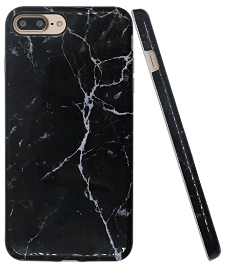 premium selection ea629 6f4a6 Iphone 8 Plus Black Case, Iphone 7 Plus Case Marble, A-Focus IMD Design  Stone Pattern Texture Soft Flexible TPU Slim Fit Cover Case for Iphone 7/8  ...