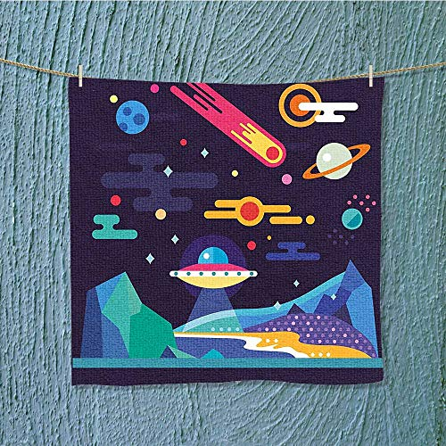 SeptSonne enduracool towel Cosmos Universe Themed Solar System Stardust Comet Ufo Planetary Soft & Absorbent W19.7 x W19.7 INCH by SeptSonne