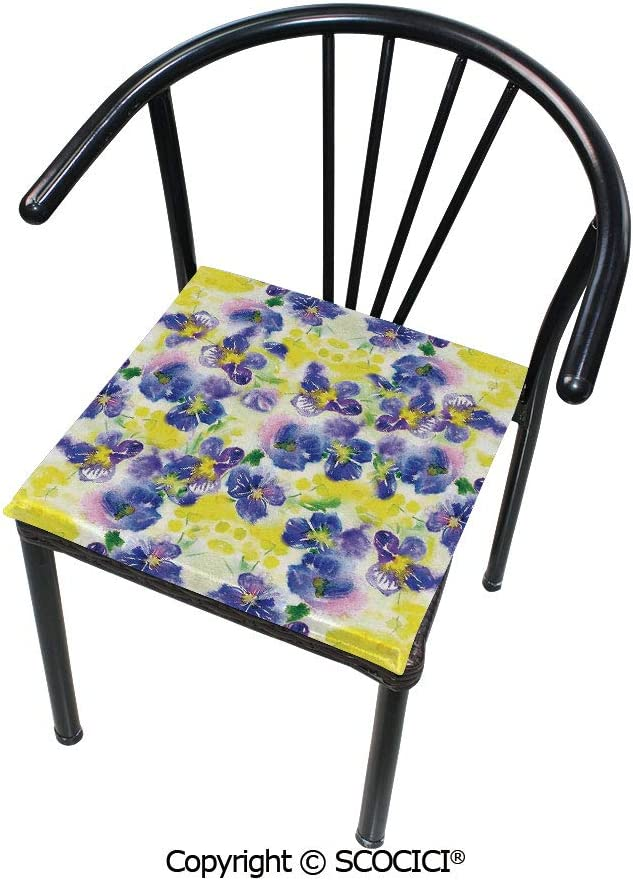 """SCOCICI Customizable Velvet Dining Chair Seat Cushion Violet Field Garden in Vivid Colors Nature Print Protect Your Chairs from Scratches 16"""" x 16"""""""