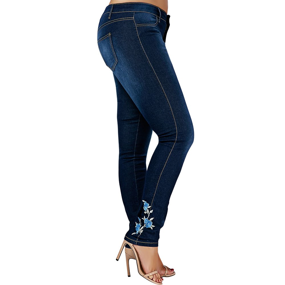 BeautyGal Women's Plus Size High Waist Floral Embroidered Skinny Jeans (Denim Blue 3XL) by BeautyGal (Image #2)