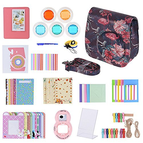 Fuji Case, Andoer Camera Accessories for Fujifilm Instax Mini 9/8/8+/8s Instant Camera 14 in 1 Bundle with Selfie Lens/Colored Filter/Album/Film Table Frame/Wall Hanging Frame/Stickes &more by Andoer