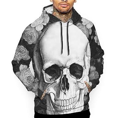 YUANSHAN Skulls Mans Long Sleeve Hoodie Casual Pocket Hooded Sweatshirt