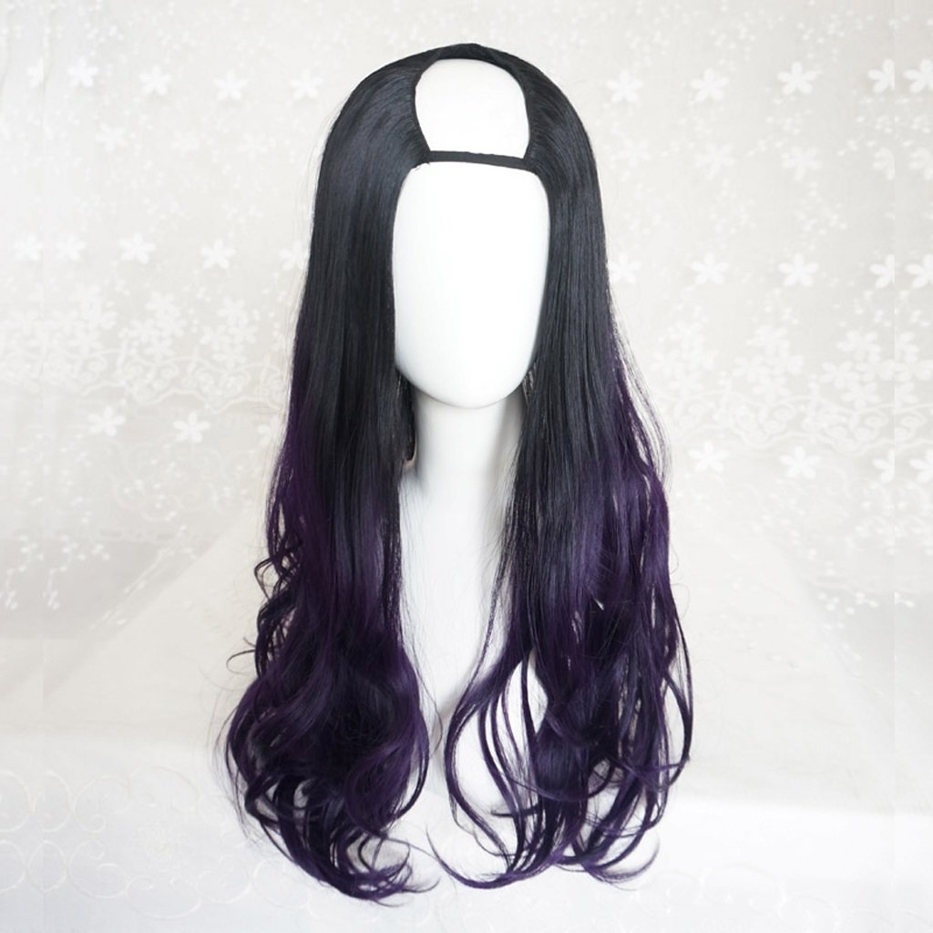 HUACANG Large Wave curl Wig Black Gradient Gold, Women's Cosplay Long Micro-Volume Wig, Sexy Fluffy Synthetic lace Wig (Color : Black and Purple)