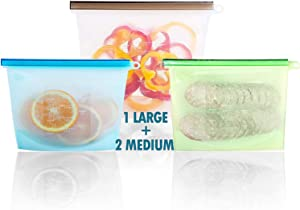 Reusable Silicone Food Storage Bags Large 50oz &2-30 | Reusable Container for Sous Vide Liquid Snack Sandwich Fruits Vegetables
