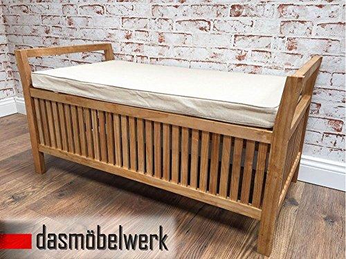 Truhenbank Sitzbank aus Pinien Holz mit Sitzkissen und Stauraum H 47 x T 47 x B 94 cm