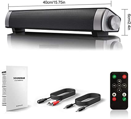 10W TV Soundbar Streaming TV  Music Speaker w// Built-in Subwoofer Stereo Speaker