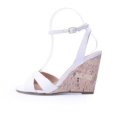 2e8b508fc0f Summer Open Toe Fish Head High Heels Wedge Sandals Female Shoes Bohemian  Sandals 10cm Blue White