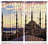 Islamic Art Suleymaniye Mosque Istanbul Turkey Bosphorus Traditional Ottoman Landmark World Monuments Minarets Palace Harem Historical Bedroom Living Room Curtain 2 Panels, Blue Brown Yellow Purple