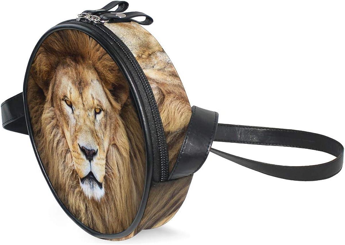 KEAKIA Lion Round Crossbody Bag Shoulder Sling Bag Handbag Purse Satchel Shoulder Bag for Kids Women